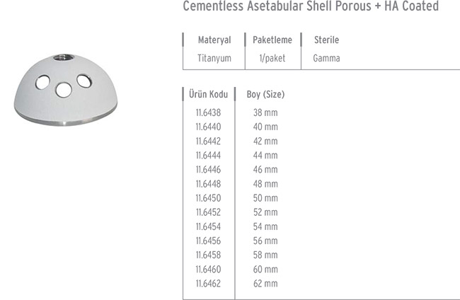 Cementless Asetabular Shell Porous + HA Coated